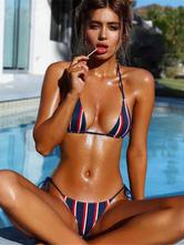 Сексуальный бикини купальник женщин Холтер полосатый низкий талия без рукавов синий сексуальный пляж купальный костюм