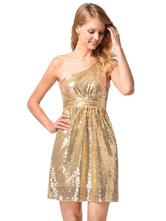 Gold Club Dress One Shoulder Sequins Sleeveless Glitter Sexy Mini Dress