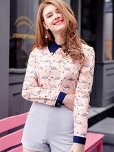 Women Pink Blouses Long Sleeve Animal Print Turndown Collar Spring Casual Top
