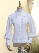 Classic Lolita Blouse Chiffon Pearl Bow Frill Lace Up White Lolita Shirt