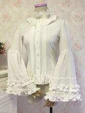 Rococo Lolita Shirt Ruffle Bow White Chiffon Lolita Blouse