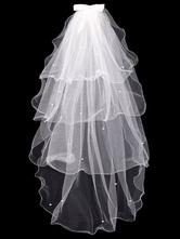 Velo de novia White Waterfall Tulle Bows 4 Tiered Bridal Veil