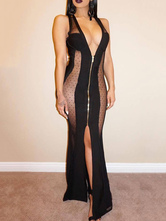 Sexy Club Dress Black Party Dress Sleeveless Plunging Neck Polka Dot Semi Sheer Split Maxi Dress