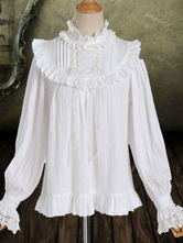 Classic Lolita Blouse Neverland Pleated Ruffle Cotton White Lolita Shirt