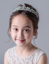 Blumenmädchen Haarschmuck Tiara Silber Kinder Strass Perlen kleine Mädchen Kopfbedeckungen