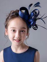 Accessori per capelli Flower Girl Dark Navy Fascinator Hat Headpieces Satin Kids Hair Pieces