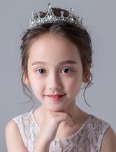 Цветочная девушка Tiara Crown Silver Kids Headpieces Rhinestone Beaded Little Girl Hair Accessories