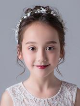 Аксессуары для волос из цветной девушки Ivory Pearls Headpieces Crystal Rhinestones Organza Ribbon Hair Bands