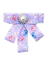 Bow Tie Brooches Purple Floral Print Costume Accessories Vintage British Women Beaded Ribbon Collar Jewelry