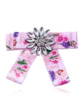Bow Tie Brooches Pink Floral Print Costume Accessories Vintage British Women Beaded Ribbon Collar Jewelry