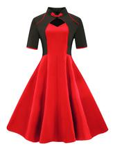 Mulheres Vintage Vestido Chinês Prom Vestido Dois Tons Cortar Manga Curta Alta Collar Swing Dress