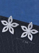 Silver Wedding Earrings Flowers Women Cubic Zirconia Bridal Jewellery