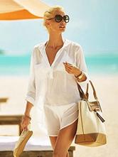 Women Cover Up Spread Neck Long Sleeve Pockets Summer Beachwear