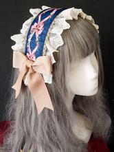 Sweet Lolita Headdress Infanta Lace Trim Bow Print Lolita Hair Accessory