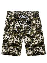 Men Beach Shorts Camo Print Drawstring Capri Cargo Shorts