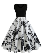 Black Vintage Dress Floral Dress V Neck Sleeveless Midi Dress