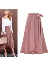 Falda larga asimétrica de verano de la falda de las mujeres