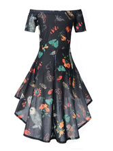 2ce40f797b8 ... Black Vintage Dress Off The Shoulder Short Sleeve Butterfly Print High  Low Retro Dress-No