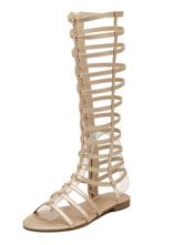 Women Gold Flat Knee High Gladiator Sandals