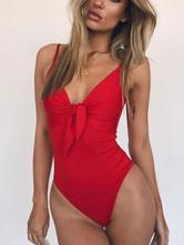 One Piece Swimsuit Knotted Tie Front Women Swimwear Beach Bathing Suit