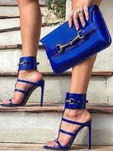 High Heel Sandals Blue Open Toe Metal Detail Strappy Sandals Women Dress Shoes