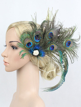 Flapper Headband 1920s Great Gatsby Green Peacock Feather Headpieces Women Vintage Costume Accessories Halloween
