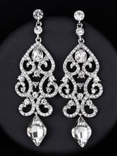Серебро мотаться серьги 1920-х годов Vintage Flapper Rhinestone Люстра заявление Вечерние серьги