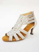 Silver Ballroom Shoes Glitter Peep Toe Rhinestones Latin Dance Shoes For Women