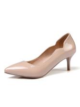 Milanoo / Nude Kitten Heels Pointed Toe Pumps for Women