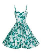 Women Vintage Dress Straps Bows Swing Green Retro Dress