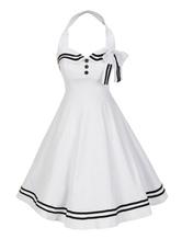 Robe blanche Vintage 2020 Halter boutons rayé robe d'été