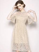 Women Lace Dress Half Sleeve Cold Shoulder Summer Dress