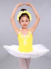 Ballerina Dress Gilrs Latin Dance Costume Yellow Kids Training Tutu Dancing Dresses