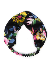 Satin Red Headband Women Floral Printed Knotted Hair Accessories