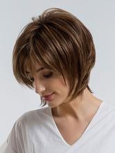 Короткие парики для волос Женские глубокие коричневые слоистые синтетические парики