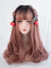 Sweet Lolita Wig Blunt Fringe Full Volume Wave Tousled Amber Long Lolita Wig