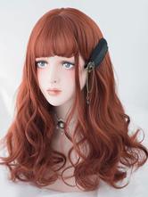 Harajuku Lolita Wig Tousled Body Wave Blunt Fringe Chestnut Brown Long Lolita Wig