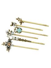 Gold Hairpin Women Rhinestones Hair Accessories In 6 Piece