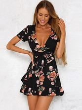 Black Summer Dresses Short Sleeves Floral Print Plunging V Neck Chiffon Sundress for women Mini Dress
