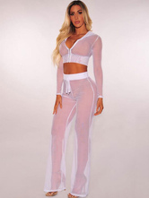 Sexy Two Piece Set Women Long Sleeve Hooded Crop Top With Sheer Pants