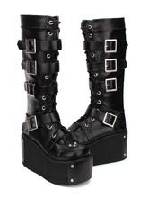 Lolita gótico botas de fivela rebite plataforma PU preto Lolita calçado
