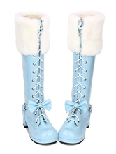 Sweet Lolita Boots Faux Fur Lace Up Bow Chunky Heel Blue Lolita Thigh High Boots