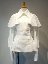 ゴシックロリータブラウスフリルダブルブレストレースアップポンチョデザインシフォンホワイトロリータシャツ