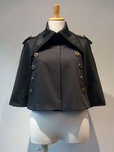 Gothic Lolita Poncho Metallic Button Black Winter Lolita Cape