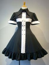Gothic Lolita OP Dress Frill Metallic Button Two Tone Black Lolita One Piece Dress