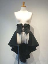 Gothic Lolita SK Laceuo High Low Layered Ruffle Black Lolita Skirt