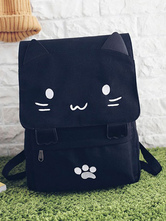 Casual Lolita Backpack Cute Cat Black Canvas Bag