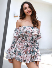 00a9990549c ... Women Floral Romper Long Sleeve Ruffles Off The Shoulder Pink Chiffon  Playsuit-No.4 ...