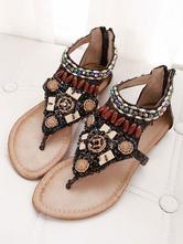 Balck Boho Flat Sandals Thong Rhinestones Beach Sandals Women Zip Up Beach Sandals