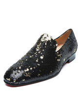 Mens Black Dress Loafers Shoes Sequined Round Toe Slip On Prom Shoes